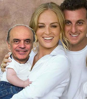 Em outra fotomontagem da página cassada em 2010, Serra, Angélica e Luciano Huck