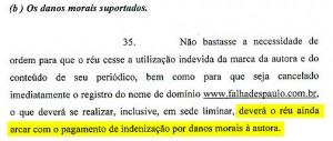 """Folha & Taís estão também querendo que a Justiça nos obrigue a pagar DINHEIRO ao jornal, por """"danos morais"""". Ah, a moral..."""