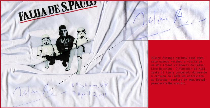 Julian Assange recebeu camisetas da Falha. E devolveu uma, autografada