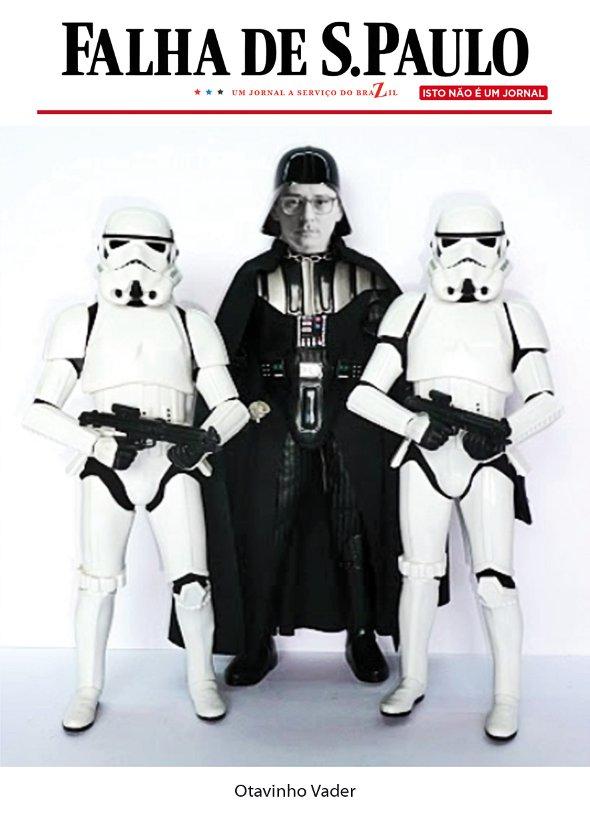 O logotipo da discórdia e Otavinho Vader, o personagem mais conhecido da Falha