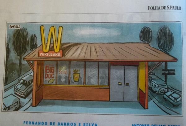 """Precedente perigoso: essa charge do cartunista Angeli, publicada na Folha poucos dias após a liminar contra a Falha, poderia ser censurada pelo Mc Donald´s, utilizando-se dos mesmo argumento de """"uso indevido da marca"""""""